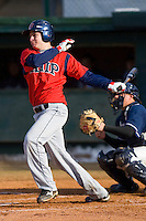 Steve Sulcoski #17 of the Shippensburg Red Raiders follows through on his swing versus the Catawba Indians on February 14, 2010 in Salisbury, North Carolina.  Photo by Brian Westerholt / Four Seam Images