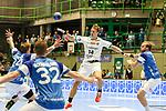 Leipzigs Niclas Pieczkowski (Nr.14) passt den Ball im Spiel der Handballliga, Bergischer HC - SC DHFK Leipzig.<br /> <br /> Foto &copy; PIX-Sportfotos *** Foto ist honorarpflichtig! *** Auf Anfrage in hoeherer Qualitaet/Aufloesung. Belegexemplar erbeten. Veroeffentlichung ausschliesslich fuer journalistisch-publizistische Zwecke. For editorial use only.