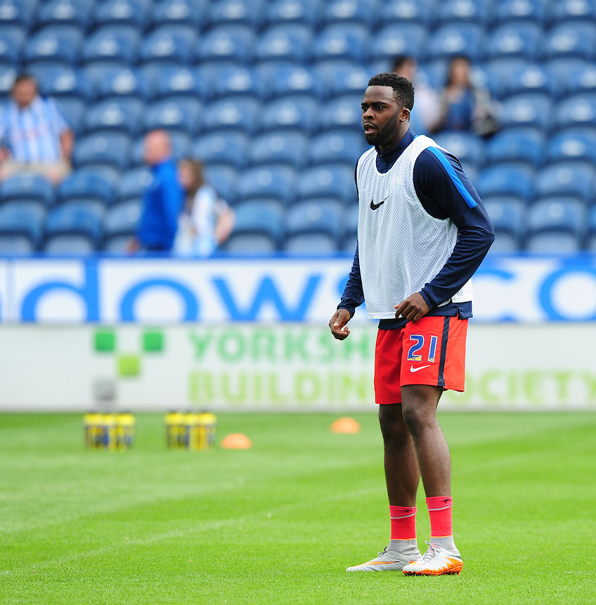 Blackburn Rovers' Hope Akpan during the pre-match warm-up <br /> <br /> Photographer Chris Vaughan/CameraSport<br /> <br /> Football - The Football League Sky Bet Championship - Huddersfield Town v Blackburn Rovers - Saturday 15th August 2015 - The John Smith's Stadium - Huddersfield<br /> <br /> &copy; CameraSport - 43 Linden Ave. Countesthorpe. Leicester. England. LE8 5PG - Tel: +44 (0) 116 277 4147 - admin@camerasport.com - www.camerasport.com