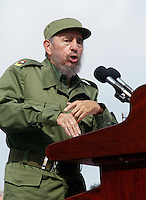 Cuban President Fidel Castro in May day, 2005 . Credit: Jorge Rey/MediaPunch