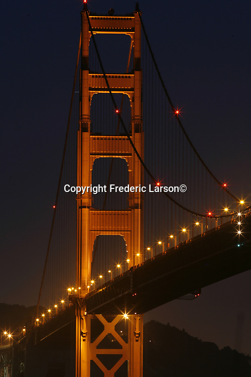 The Golden Gate Bridge as seen from Fort Baker fishing pier taken with a slow shutter speed.