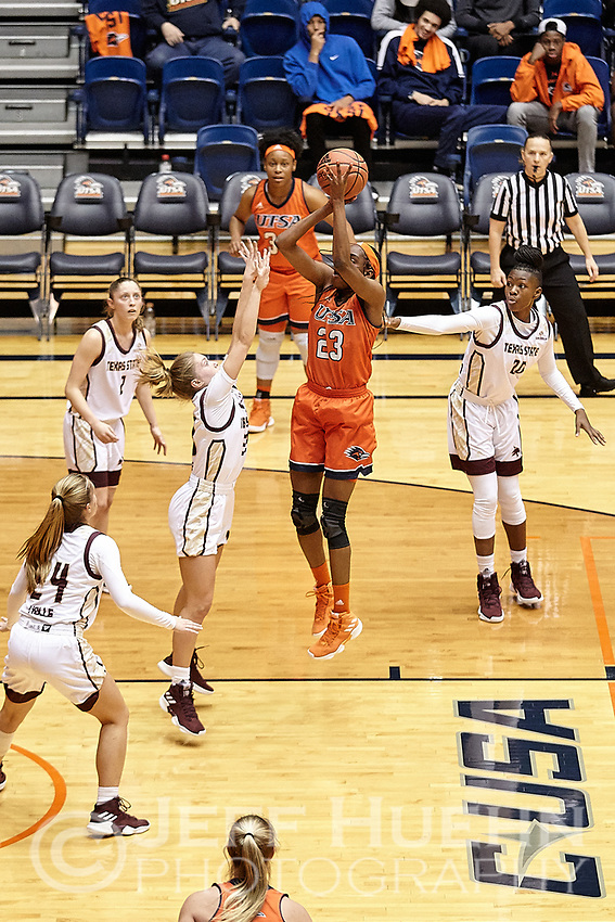 SAN ANTONIO, TX - NOVEMBER 20, 2018: The University of Texas at San Antonio Roadrunners fall to the Texas State University Bobcats 68-60 at the UTSA Convocation Center. (Photo by Jeff Huehn)