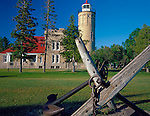 Cheboygan County, MI   <br /> Large ship anchors and Old Mackinac Point Lighthouse (1892)