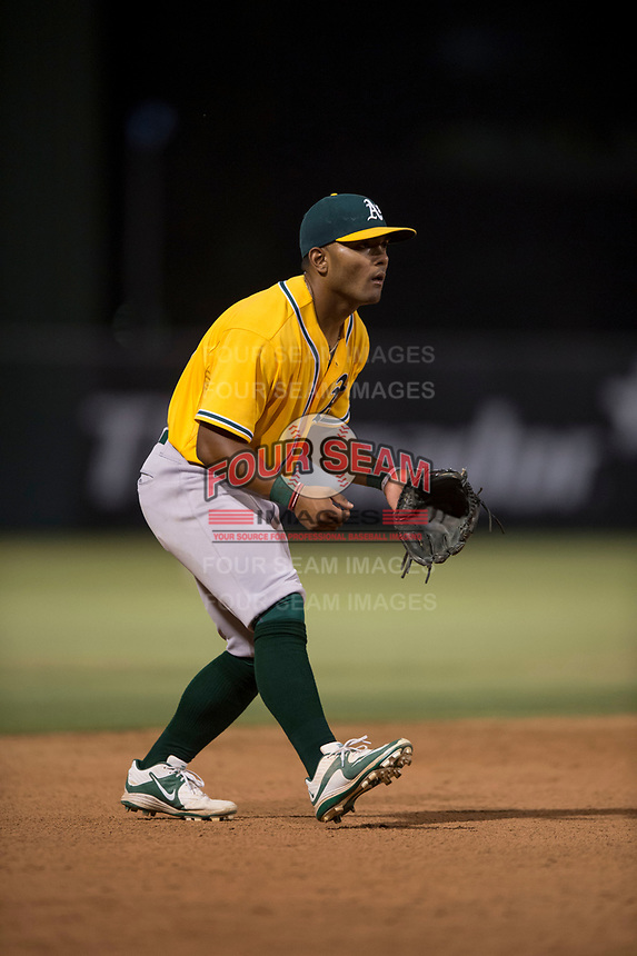 AZL Athletics third baseman Cobie Vance (16) during an Arizona League game against the AZL Angels at Tempe Diablo Stadium on June 26, 2018 in Tempe, Arizona. The AZL Athletics defeated the AZL Angels 7-1. (Zachary Lucy/Four Seam Images)