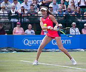 June 15th 2017, Nottingham, England; WTA Aegon Nottingham Open Tennis Tournament day 6;  A powerful backhand from Johanna Konta of Great Britain during her win over Yanina Wickmayer of Belgium on centre court