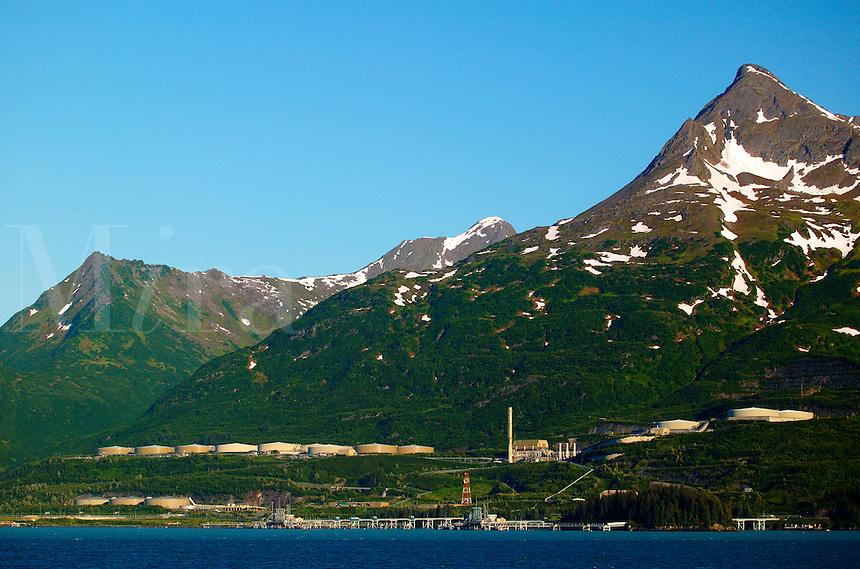 The Trans-Alaska Pipeline Terminal from the Alaska State Ferry Aurora, Prince William Sound, Valdez, Alaska