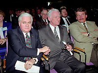 April 1992 File Photo - <br /> Union des Municipalites du Quebec convention in April -<br /> Ralph Mercier, UMQ President and Mayor of Charlesbourg (L), Claude Ryan, Quebec Minister of Municipal Affairs (R)