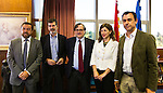 Miguel Angel Gutierrez of Ciudadanos, Yolanda Diaz of Unidos Podemos, Jose Enrique Serrano of Partido Socialista, Fernando Martinez Maillo of Partido Popular and Francisco Maruenda, director of La Razon during the debate on agreements with representatives of the four major political forces at the headquarters of the newspaper La Razon . 19,06,2016. (ALTERPHOTOS/Rodrigo Jimenez)