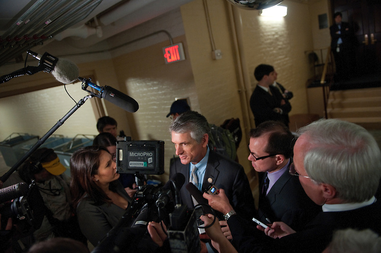 UNITED STATES - JULY 27: Scott Rigell, R-VA., talks to reporters after the meeting of the House Republican Caucus in the U. S Capitol.  (Photo By Douglas Graham/Roll Call)