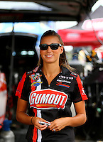 Aug 30, 2014; Clermont, IN, USA; NHRA top fuel dragster driver Leah Pritchett during qualifying for the US Nationals at Lucas Oil Raceway. Mandatory Credit: Mark J. Rebilas-USA TODAY Sports