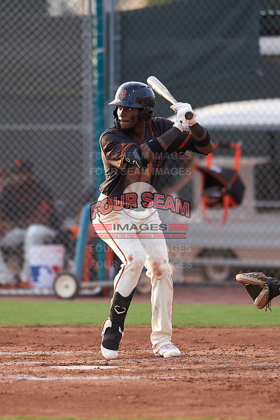 AZL Giants Black Ghordy Santos (8) at bat during an Arizona League game against the AZL Giants Orange on July 19, 2019 at the Giants Baseball Complex in Scottsdale, Arizona. The AZL Giants Black defeated the AZL Giants Orange 8-5. (Zachary Lucy/Four Seam Images)