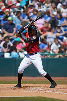 Jose Almonte (9) of the Hickory Crawdads at bat against the Charleston RiverDogs at L.P. Frans Stadium on May 13, 2019 in Hickory, North Carolina. The Crawdads defeated the RiverDogs 7-5. (Brian Westerholt/Four Seam Images)