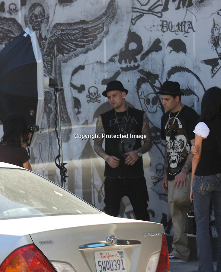 10-8-08.Joel & Benji Madden doing a photoshoot in front of there clothing store on Melrose ave in Hollywood ca ...AbilityFilms@yahoo.com.805-427-3519.www.AbilityFilms.com