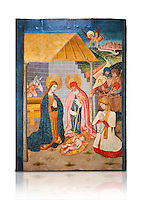 Gothic altarpiece ofthe Nativity from the workshop of Taller de Pere Garcia de Benavarri, circa 1475, tempera and gold leaf on for wood, from the church of Nostra Senyora de Baldos de Montanyana, Osca.  National Museum of Catalan Art, Barcelona, Spain, inv no: MNAC   114750-1. Against a white background.