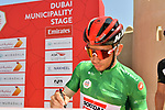 Green Jersey holder Caleb Ewan (AUS) Lotto-Soudal at sign on before Stage 2 the Dubai Municipality Stage of the UAE Tour 2020 running 168km from Hatta to Hatta Dam, Dubai. 24th February 2020.<br /> Picture: LaPresse/Massimo Paolone | Cyclefile<br /> <br /> All photos usage must carry mandatory copyright credit (© Cyclefile | LaPresse/Massimo Paolone)