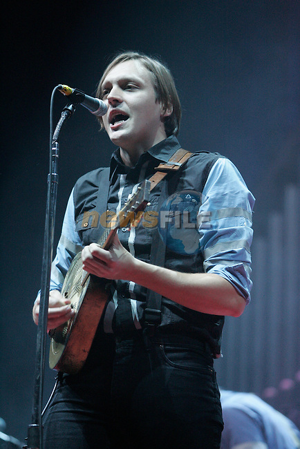 Arcade fire on stage in the Big Top during there two night shows in the Phoenix Park.. Photo: Newsfile/Fran Caffrey.