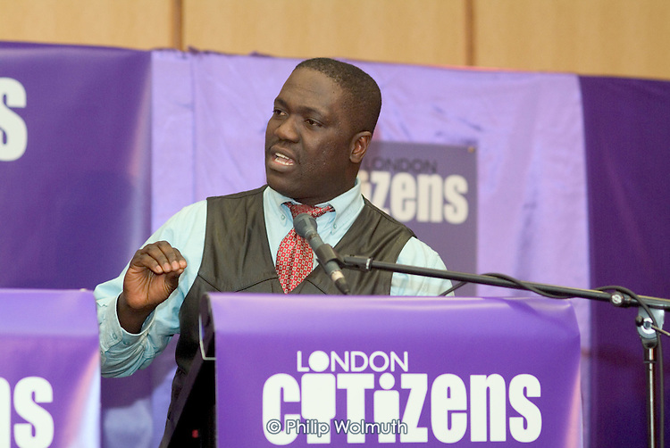 Daniel Atakora, Mile End Hospital UNISON steward, speaks on behalf of the Living Wage Campaign at the first London Citizens Delegates Assembly, organised by The East London Citizens Organisation (TELCO), which voted to prioritise campaigns for a living wage, affordable housing and improved youth services in the run-up to the London mayoral elections.