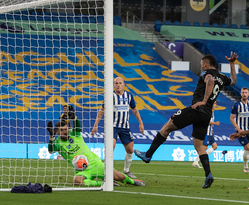 Manchester City's Gabriel Jesus scores his side's second goal <br /> <br /> Photographer David Horton/CameraSport<br /> <br /> The Premier League - Brighton & Hove Albion v Manchester City - Saturday 11th July 2020 - The Amex Stadium - Brighton<br /> <br /> World Copyright © 2020 CameraSport. All rights reserved. 43 Linden Ave. Countesthorpe. Leicester. England. LE8 5PG - Tel: +44 (0) 116 277 4147 - admin@camerasport.com - www.camerasport.com