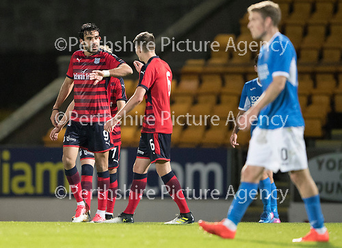 Dave Mackay Testimonial: St Johnstone v Dundee&hellip;06.10.17&hellip;  McDiarmid Park&hellip; <br />Sofien Moussa celebrates his goal<br />Picture by Graeme Hart. <br />Copyright Perthshire Picture Agency<br />Tel: 01738 623350  Mobile: 07990 594431