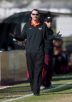 Virginia Tech head coach Mike Brizendine questions a referee during the game at Ludwig Field in College Park, MD. Virginia Tech defeated North Carolina State, 3-2, in the ACC tournament play-in game.