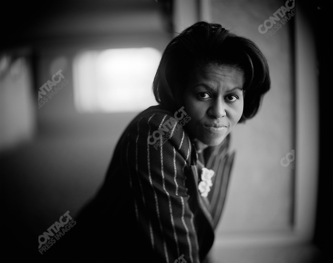 Michelle Obama, wife of Democratic presidential candidate Barack Obama, campaigns for her husband. Providence, Rhode Island, February 20, 2008