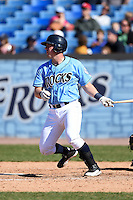 Wilmington Blue Rocks designated hitter Zane Evans (39) at bat during a game against the Myrtle Beach Pelicans on April 27, 2014 at Frawley Stadium in Wilmington, Delaware.  Myrtle Beach defeated Wilmington 5-2.  (Mike Janes/Four Seam Images)