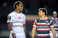 Leone Nakarawa of Racing 92 has a laugh with Ben Youngs of Leicester Tigers after the match. European Rugby Champions Cup match, between Leicester Tigers and Racing 92 on October 23, 2016 at Welford Road in Leicester, England. Photo by: Patrick Khachfe / JMP