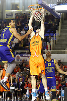 Montakit Fuenlabrada's Ian O'Leary (c) and Herbalife Gran Canaria's Ryan Hollins (l) and Eulis Baez during Eurocup, Top 16, Round 2 match. January 10, 2017. (ALTERPHOTOS/Acero) /NORTEPHOTO.COM