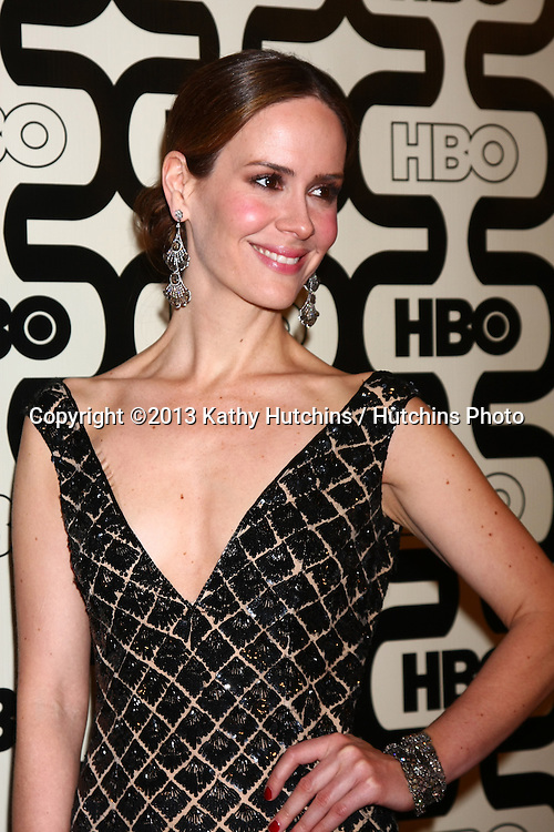 LOS ANGELES - JAN 13:  Sarah Paulson arrives at the 2013 HBO Post Golden Globe Party at Beverly Hilton Hotel on January 13, 2013 in Beverly Hills, CA..
