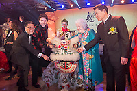 "Canadian Prime Minister Justin Trudeau and former Mississauga mayor Hazel McCallion (in blue dress on right of dragon) attend the 27th Annual Dragon Ball Gala in celebration of the Chinese New Year,<br />  February 6, 2016.<br /> Moment during ""eye-dotting"" ceremony.<br /> PHOTO : J. Adam Huggins - Agence Quebec Presse"