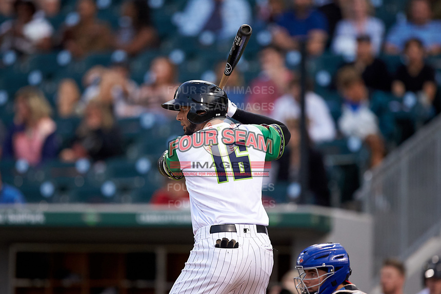 Paulo Orlando (16) of the Caballeros de Charlotte at bat against the Buffalo Bisons at BB&T BallPark on July 23, 2019 in Charlotte, North Carolina. The Bisons defeated the Caballeros 8-1. (Brian Westerholt/Four Seam Images)