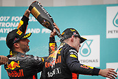1st October 2017, Sepang, Malaysia;  FIA Formula One World Championship, Grand Prix of Malaysia, 3 Daniel Ricciardo (AUS, Red Bull Racing), 33 Max Verstappen (NLD, Red Bull Racing),  celebrates on the podium