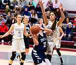 NAUGATUCK,  CT-011820JS04-  Shepaug's Haylie Lasky (25) gets fouled by Naugatuck's Sara Macary (15) as she tries to get a shot off during their non-league game Saturday at Naugatuck High School. <br /> Jim Shannon Republican-American
