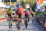 Nicolas Roche (IRL) Team Sunweb crosses the finish line in 2nd place ahead of Primoz Roglic (SLO) Jumbo-Visma and Rigoberto Uran (COL) EF Education First at the end of Stage 2 of La Vuelta 2019 running 199.6km from Benidorm to Calpe, Spain. 25th August 2019.<br /> Picture: Eoin Clarke | Cyclefile<br /> <br /> All photos usage must carry mandatory copyright credit (© Cyclefile | Eoin Clarke)