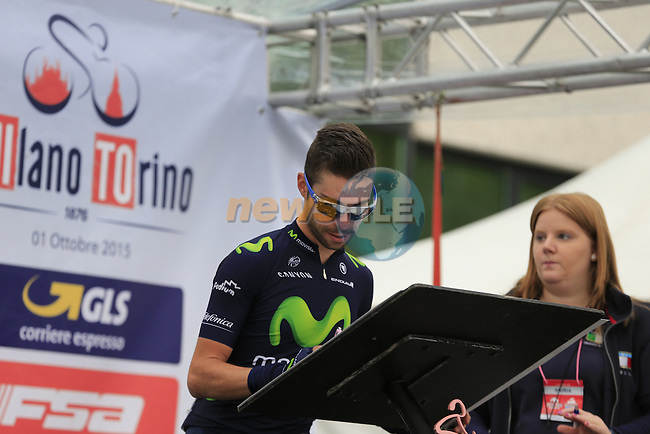 Giovanni Visconti (ITA) Movistar Team signs on for the start of the 2015 96th Milan-Turin 186km race starting at San Giuliano Milanese, Italy. 1st October 2015.<br /> Picture: Eoin Clarke | Newsfile