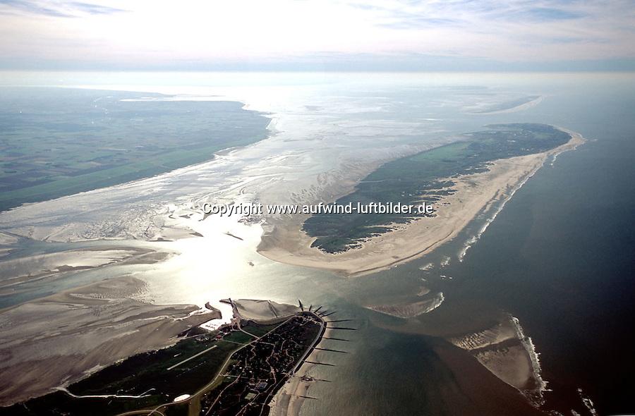 Deutschland, Niedersachsen, Ostfriesische Inseln, Nationalpark Niedersaechisches Wattenmeer, Nordsee, vorne Baltrum, Norderney, links Norderland