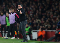 Gennaro Gattuso manager of AC Milan during the UEFA Europa League round of 16 2nd leg match between Arsenal and AC Milan at the Emirates Stadium, London, England on 15 March 2018. Photo by Vince  Mignott / PRiME Media Images.