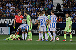 FC Barcelona's Ivan Rakitic have words with the referee Indiano Mallenco during La Liga match between CD Leganes and FC Barcelona at Butarque Stadium in Madrid, Spain. September 26, 2018. (ALTERPHOTOS/A. Perez Meca)