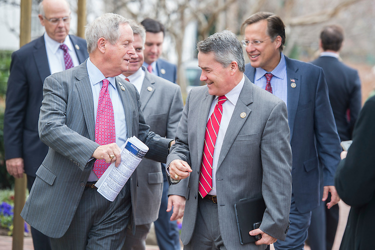 UNITED STATES - FEBRUARY 07: Reps. Jody Hice, R-Ga., right, and Joe Wilson, R-S.C., leave the Capitol Hill Club after a meeting of the House Republican Conference, February 7, 2017. (Photo By Tom Williams/CQ Roll Call)