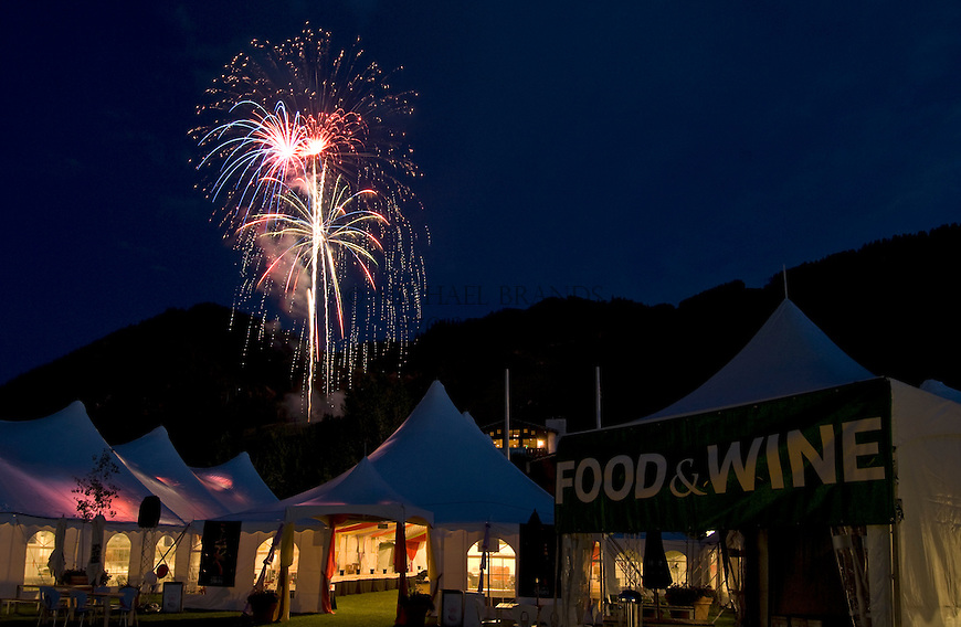 Fireworks light up the sky over Aspen, CO, during the Aspen Food & Wine Magazine Classic. © Michael Brands. 970-379-1885.