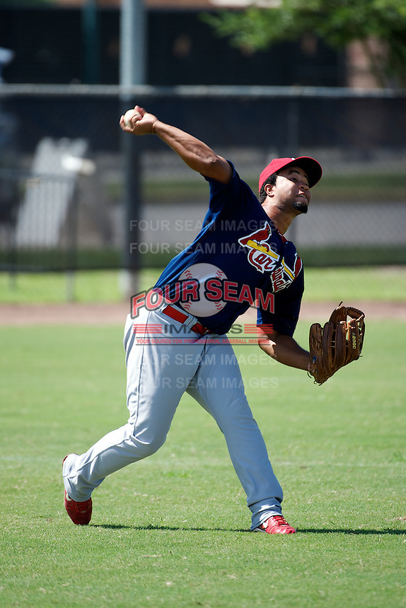 GCL Cardinals Amaury Capellan #8 during practice before a Gulf Coast League game against the GCL Astros at Osceola County Complex on July 16, 2012 in Kissimmee, Florida.  GCL Astros defeated the GCL Cardinals 5-4.  (Mike Janes/Four Seam Images)