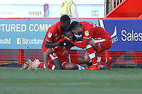 Crawley celebrate their goal in the second half scored by Lewis Young (C) during Crawley Town vs Macclesfield Town, Sky Bet EFL League 2 Football at Broadfield Stadium on 23rd February 2019