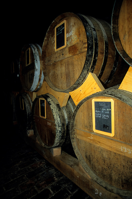 FRANCE, NORMANDY, NEAR HONFLEUR, CALVADOS DISTILLERY, BARRELS