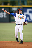 April 17, 2009:  Second baseman Tim Torres of the Jacksonville Suns, Southern League Class-AA affiliate of the Florida Marlins, during a game at the Baseball Grounds of Jacksonville in Jacksonville, FL.  Photo by:  Mike Janes/Four Seam Images