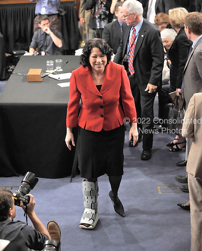 Washington, DC - July 14, 2009 -- Judge Sonia Sotomayor leaves the witness table for a lunch break as the United States Senate Judiciary Committee considers her nomination as Associate Justice of the U.S. Supreme Court on Tuesday, July 14, 2009..Credit: Ron Sachs / CNP