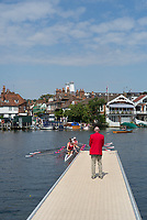 """Henley on Thames, United Kingdom, 4th July 2018, Thursday, View,  second day of the annual, Y Quad Cites Rowing Association, """"Henley Royal Regatta"""", Henley Reach, River Thames, Thames Valley, England, © Peter SPURRIER,"""