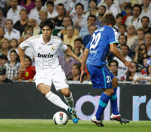 10.09.2011. The Bernabeau, Madrid, Spain.  Spanish La Liga league match between  Real Madrid vs Getafe . Picture show Kaka as he takes the ball past Valera.