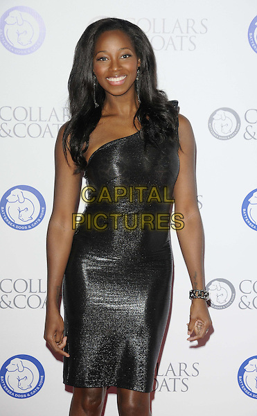 Jamelia (Jamelia Niela Davis).Attending the Battersea Dogs & Cats Home 'Collars & Coats Gala Ball 2012' held at Battersea Evolution, London, England, UK, 8th November 2012..half length black shiny dress one shoulder smiling .CAP/CAN.©Can Nguyen/Capital Pictures.