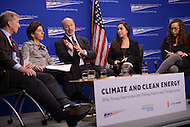 Washington, DC - February 19, 2016: Gov. Tom Wolf (c) of Pennsylvania participates in a panel discussion on climate and clean energy at the Center for American Progress in the District of Columbia, February 19, 2016.  (L-R) Tom Styer, founder NextGen Climate; Gove Gina Raimondo of Rhode island; Gov. Wolf; Lucia Hennelly, New Climate Partnerships; Layla Zaidane, managing director, Center for America Progress.  (Photo by Don Baxter/Media Images International)
