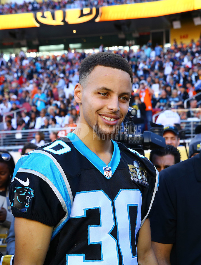 Feb 7, 2016; Santa Clara, CA, USA; Golden State Warriors guard Stephen Curry on the field before Super Bowl 50 between the Carolina Panthers and the Denver Broncos at Levi's Stadium. Mandatory Credit: Mark J. Rebilas-USA TODAY Sports